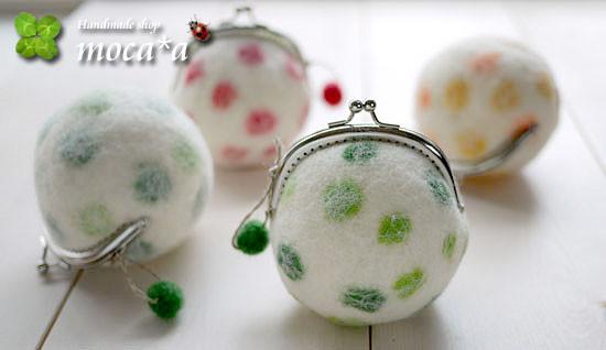 [プレゼント][ギフト][母の日][誕生日][羊毛フェルト][ハンドメイド][雑貨][がま口財布][水玉模様]