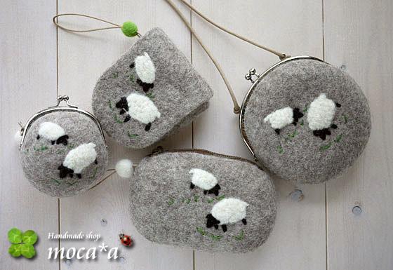 [プレゼント][ギフト][母の日][誕生日][羊毛フェルト][ハンドメイド][雑貨][ポーチ][がま口財布][羊]