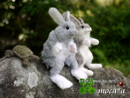 [うさぎのぬいぐるみ][ウサギぬいぐるみ][うさぎとかめ][ウサギとカメ][子兎][ペット][ぬいぐるみ][羊毛フェルト][ハンドメイド][雑貨]