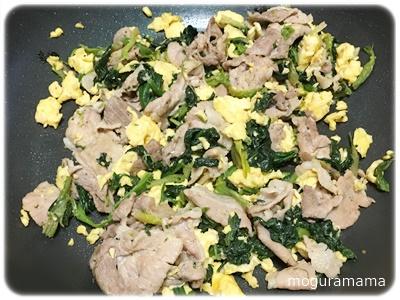 豚肉とほうれん草の中華風卵炒め