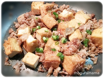 豚肉と厚揚げのおかか醤油炒め