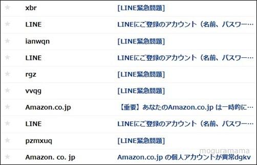 LINEとAmazonの詐欺メール
