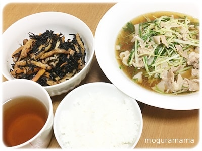 ひじきの煮物、豚肉と水菜のハリハリ煮
