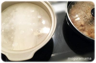 土鍋で素麺を湯がく