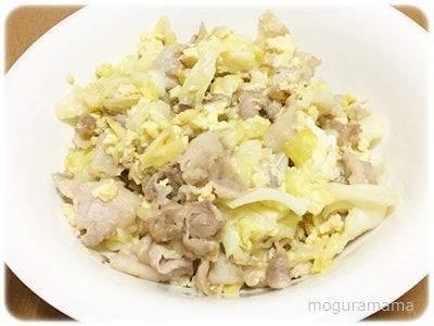 卵とキャベツの甘辛炒め