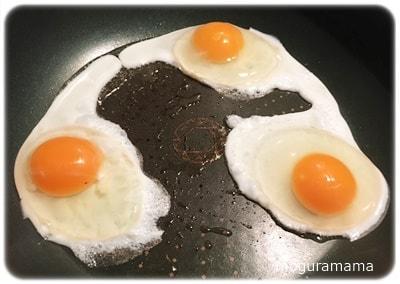 天美卵で目玉焼き