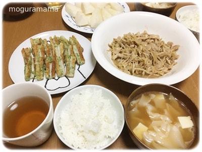 豚肉ともやしの中華炒め、ちくわの磯辺揚げ、豆腐入りワンタンスープ