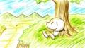 丘で昼寝するモロコシくん