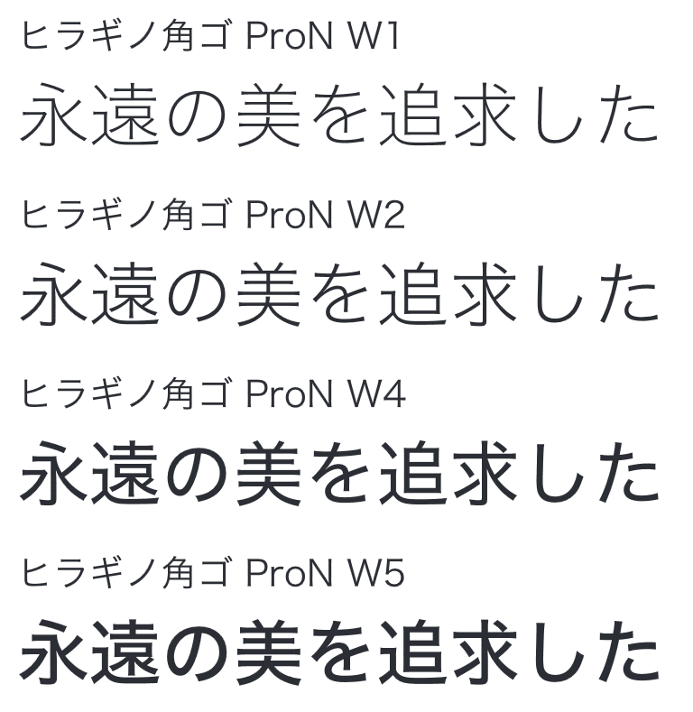 ヒラギノ角ゴ ProN書体見本