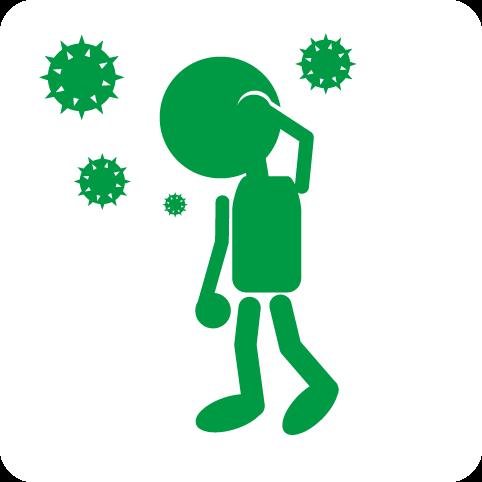 フリー素材:ピクト「ウイルスに侵された男性」