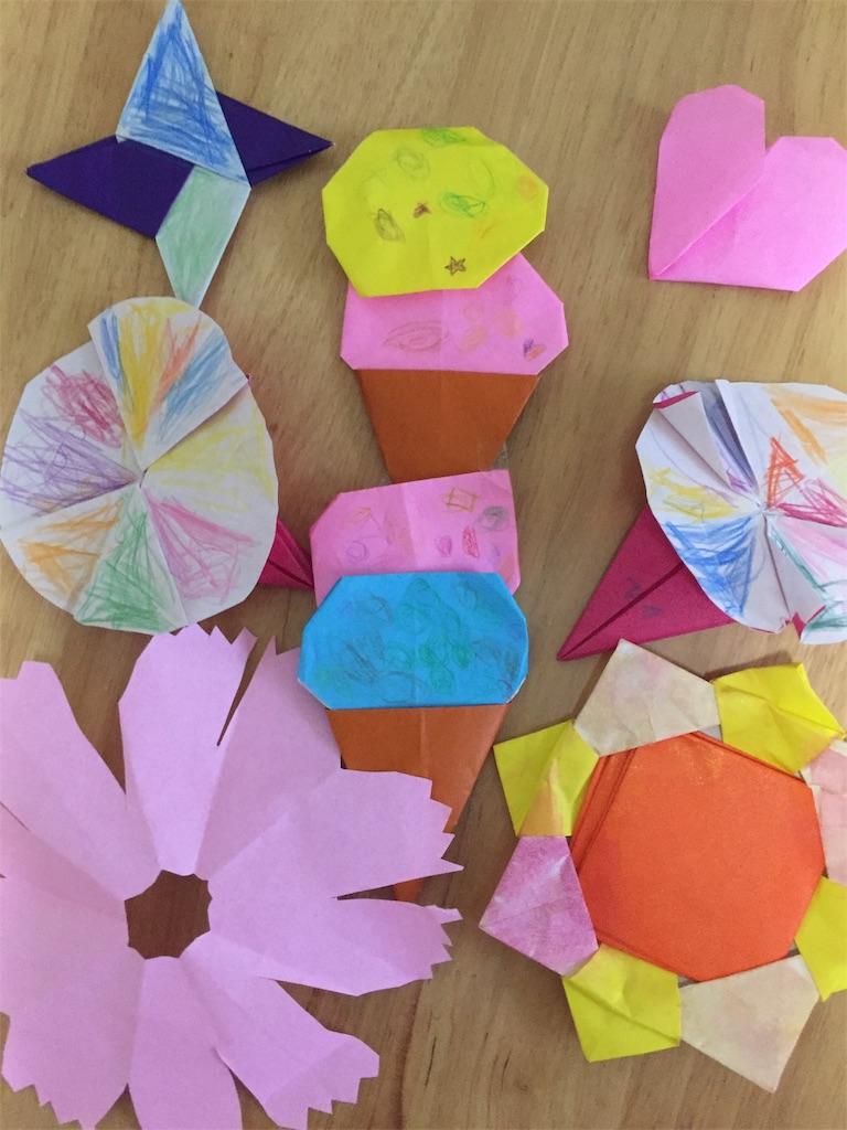 4歳の年少さんの折り紙の作品