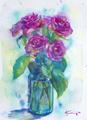 青いガラスの薔薇