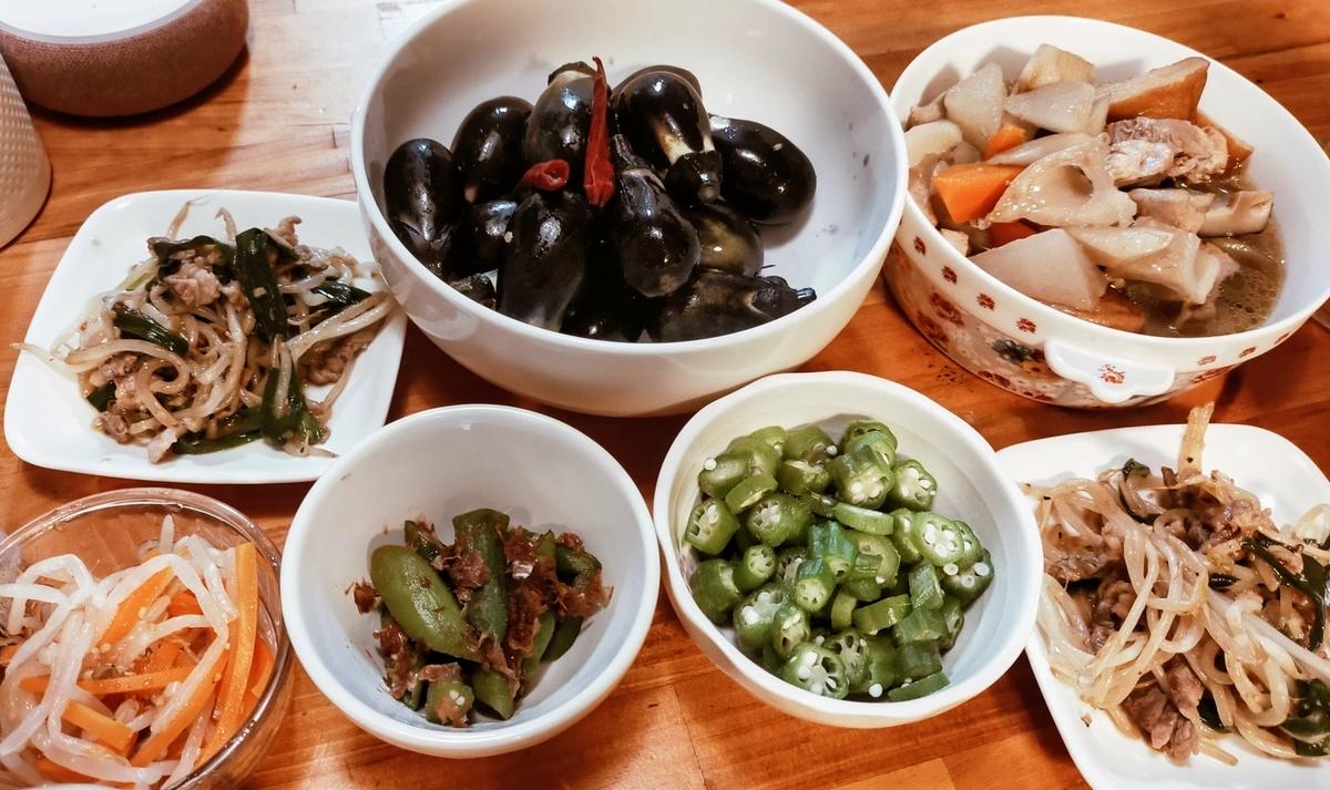 夏野菜中心の夕食