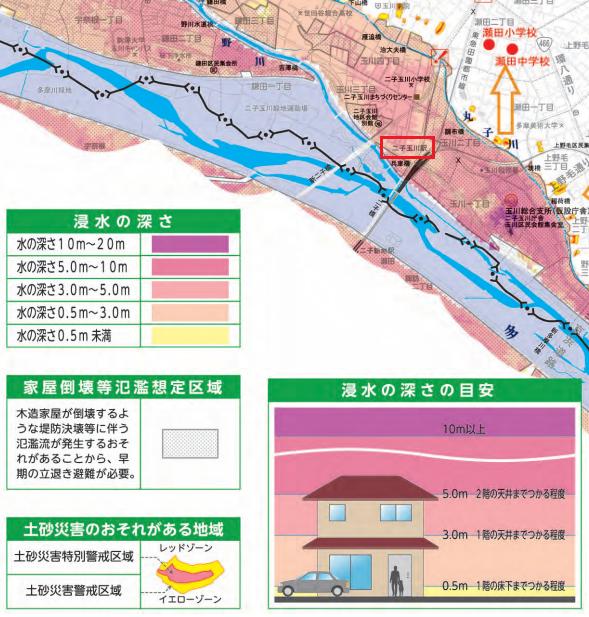 二子玉周辺洪水ハザードマップ/出典:世田谷区