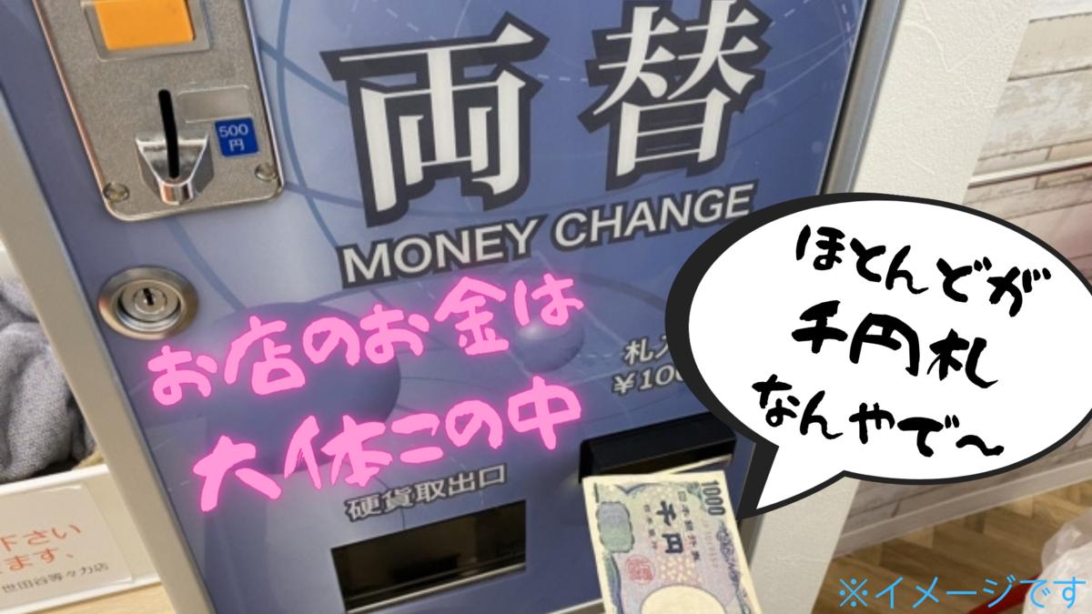 両替機の中身はほとんどが千円札