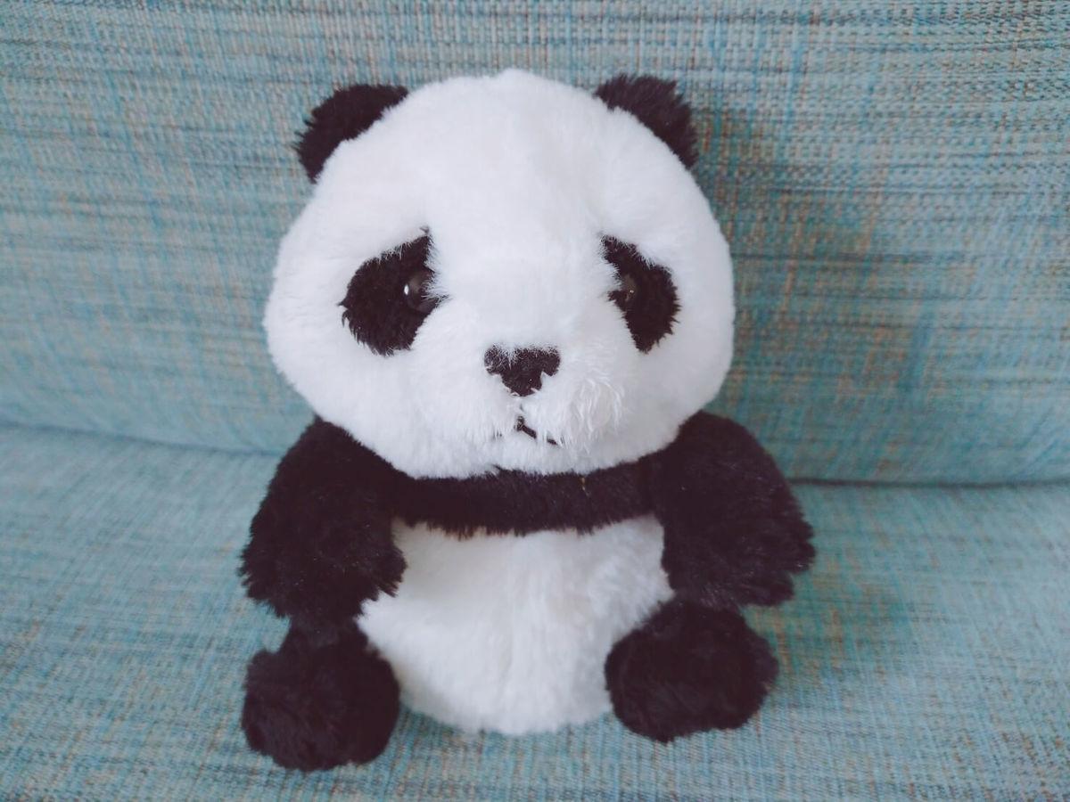 手のひらサイズのパンダのぬいぐるみ(fluffies)