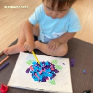 幼児 貼り絵 紫陽花