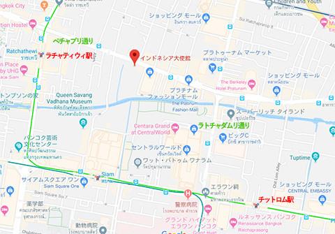 在バンコク・インドネシア大使館の地図