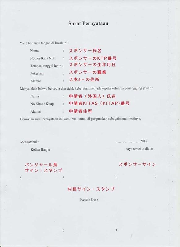 Surat Pernyataan書き方見本