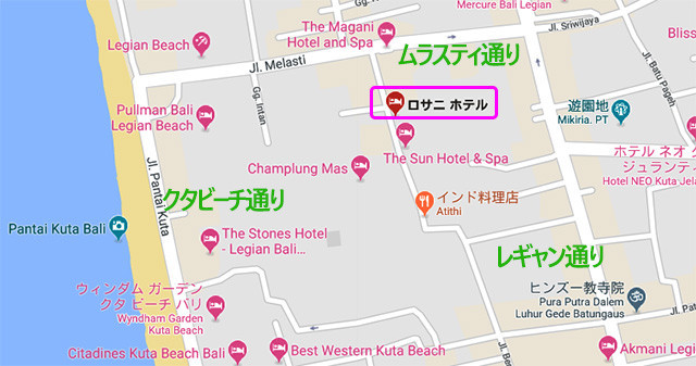 ロサニホテル周辺の地図