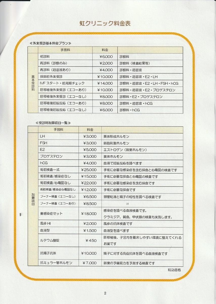 虹クリニック料金表2