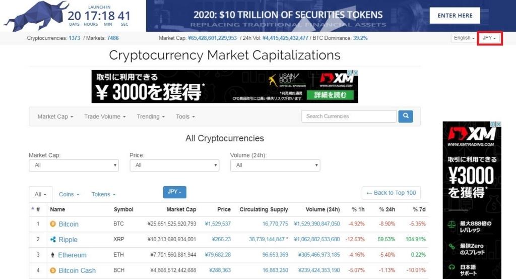 コインマーケットキャップ画面