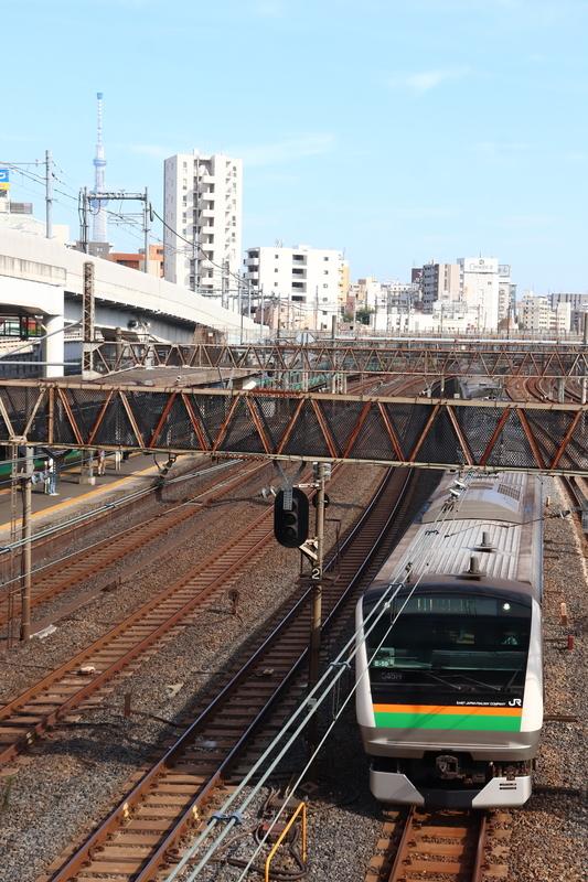 日暮里駅 スカイツリー E233系