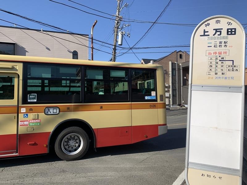 上万田バス停 湘南平 麓