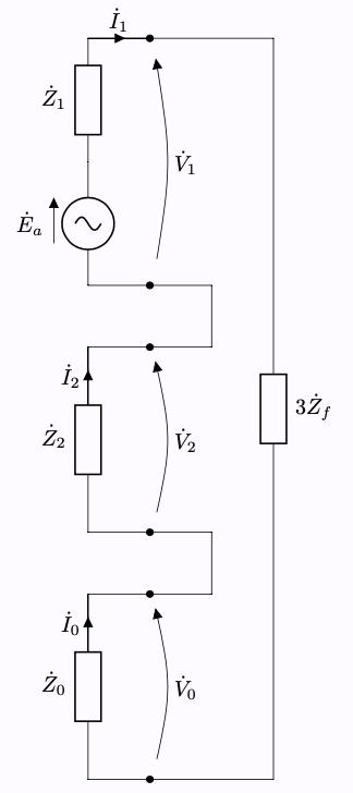 対称座標法 一相地絡故障(インピーダンス地絡,直接接地) 対称分回路