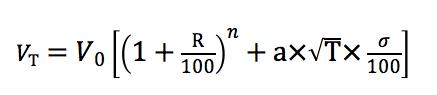 ルートT倍法による投資結果の計算式