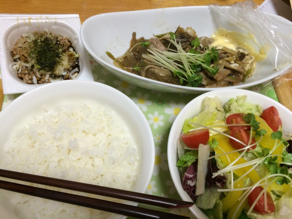 納豆と生野菜サラダ。生姜焼き定食