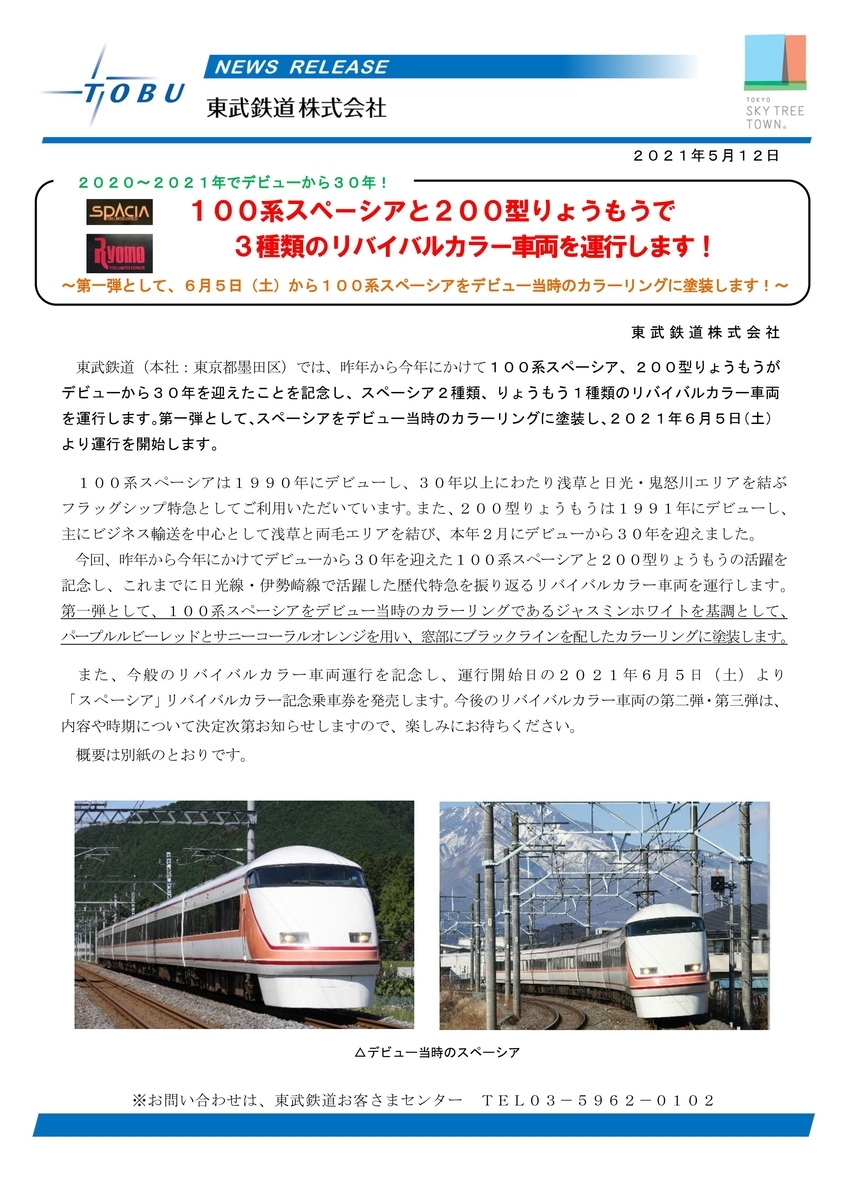 100系 1720系 1800系 200系 スペーシア DRC りょうもう号 リバイバル リバイバルカラー 東武鉄道 東武特急