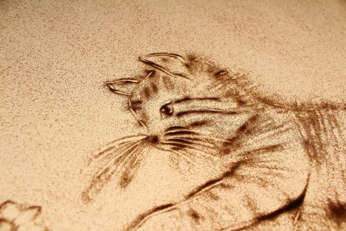サンドアートで猫