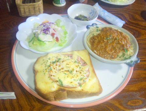埼玉県越谷市袋山にある喫茶店「古民家きっ茶店 さぼてんの家」ハムチーズトーストのプレート
