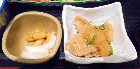 埼玉県さいたま市北区吉野町1丁目にある和食のお店「がってん食堂大島屋 吉野町店」刺身定食の付け合わせ