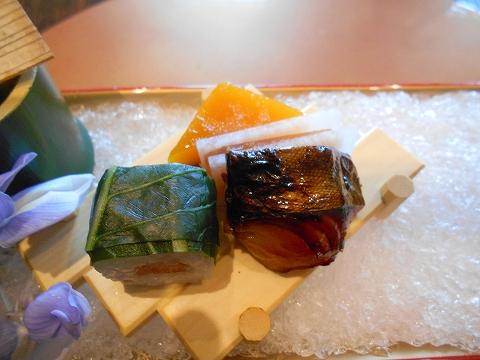 広島県広島市西区三滝町にある料亭「三瀧荘」雅コースの前菜の鰆西京焼き南京羊羹と目張寿司と唐墨大根