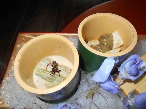 広島県広島市西区三滝町にある料亭「三瀧荘」雅コースの前菜の水ナス蕗の唐味噌和えと蓮芋胡麻浸し