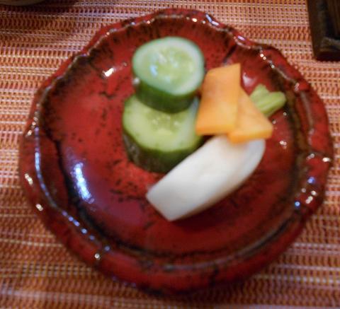埼玉県春日部市一ノ割1丁目にある釜飯と和食旬の鯛釜飯セットのお新香