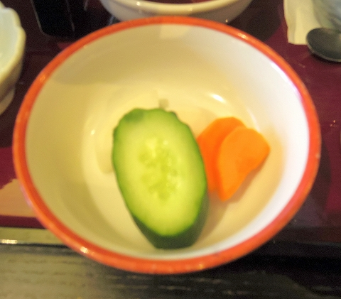 茨城県ひたちなか市西光地2丁目にある和食ファミリーレストラン「ばんどう太郎 ひたちなか店」ばんどう御膳の香の物