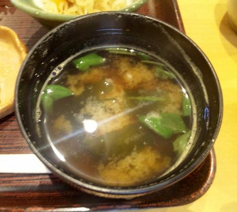 千葉県木更津市請西東5丁目にある懐石・会席料理、寿司の「お食事処 すし こよう」日替わり定食の味噌汁
