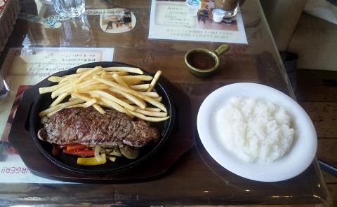 埼玉県所沢市東新井町にあるバーベキュー・ハンバーガー料理店「B.B.Q KIMURA バーベキューキムラ」サーロインステーキプレート