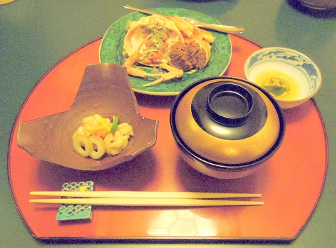 石川県金沢市末町の犀川温泉にある料理温泉旅館「滝亭」香箱蟹 焼き白子 ポン酢