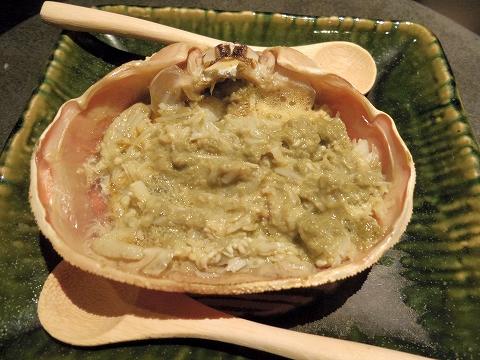 石川県加賀市山代温泉にある温泉旅館「べにや無何有」夕食 ずわい蟹甲羅焼