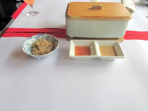 石川県加賀市山代温泉にある温泉旅館「べにや無何有」朝食 ちりめん山椒 温野菜サラダ