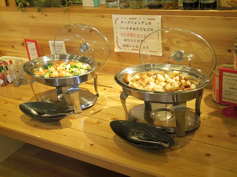 埼玉県入間市扇町屋4丁目にあるカフェ、ピザ、イタリアンの「ピザ屋のチーズカフェ」チーズフォンデュの具