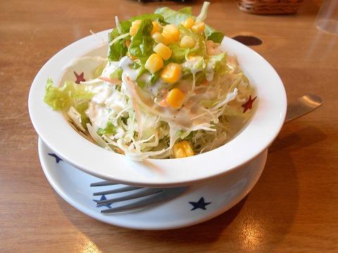 埼玉県春日部市大沼2丁目にあるステーキ、ハンバーグの「ステーキのどん  春日部店」セットのサラダとライス