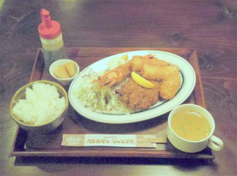茨城県土浦市大和町にある定食、食堂の「駅前食堂 ウエスタン・ジャンゴ WESTERN DJANGO」ミックス・フライセット
