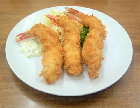 千葉県香取市にある洋食店「御食事処 東洋軒」エビフライ定食