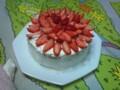 避難してきたおばちゃんに誕生日ケーキを。相方と姪っこの力作なり
