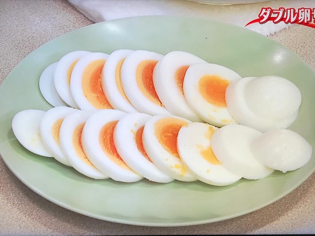 残りのゆで卵(2個)は、5mm幅の輪切りにする